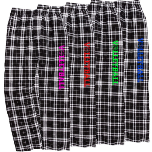 Volleyball Black/White Flannel Pants