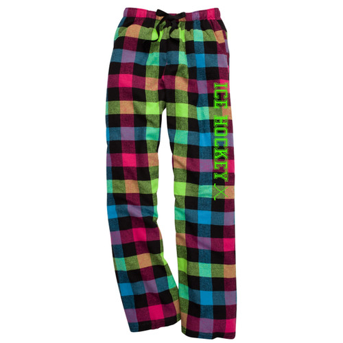 Ice Hockey Neon Flannel Pants