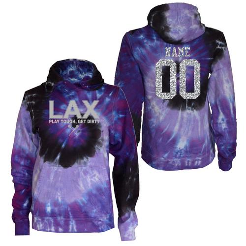 """Lacrosse Purple Tie Dye Sweatshirt """"LAX"""" Metallic Logo"""
