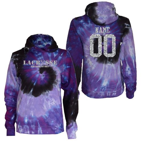 """Lacrosse Purple Tie Dye Sweatshirt """"Lacrosse"""" Metallic Logo"""