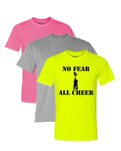 "Cheerleading Solid T-Shirt ""No Fear All Cheer"" Black Logo"