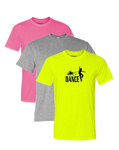 "Dance Solid T-Shirt ""Splatter"" Black Logo"