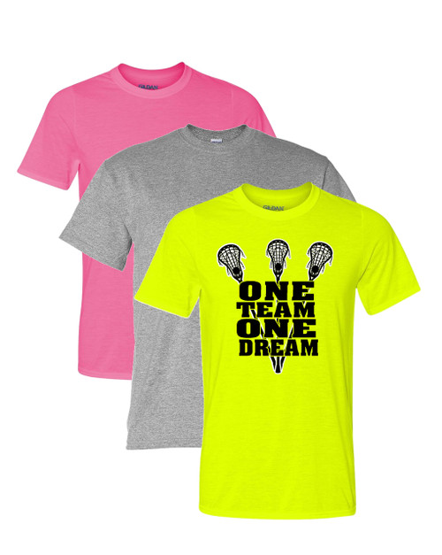 "Lacrosse Solid T-Shirt ""One Team One Dream"" Black Logo"