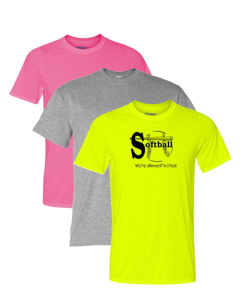 "Softball Solid T-Shirt ""We're Allowed to Steal"" Black Logo"