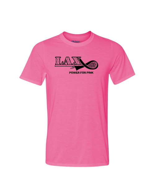 """Lacrosse Solid T-Shirt """"Power for Pink"""" Logo"""