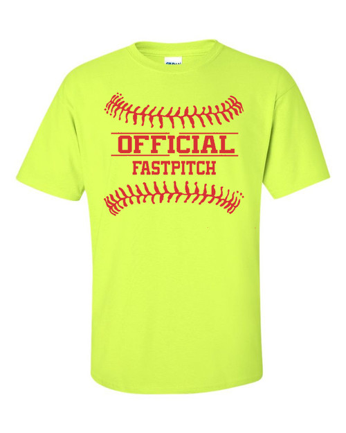 "Softball Solid T-Shirt ""Official Fastpitch"" Red Logo"