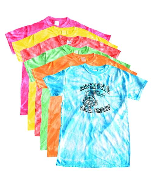"Basketball Tie Dye T-Shirt ""Swoosh Happens"" Black Logo"