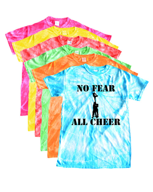 "Cheerleading Tie Dye T-Shirt ""No Fear All Cheer"" Black Logo"