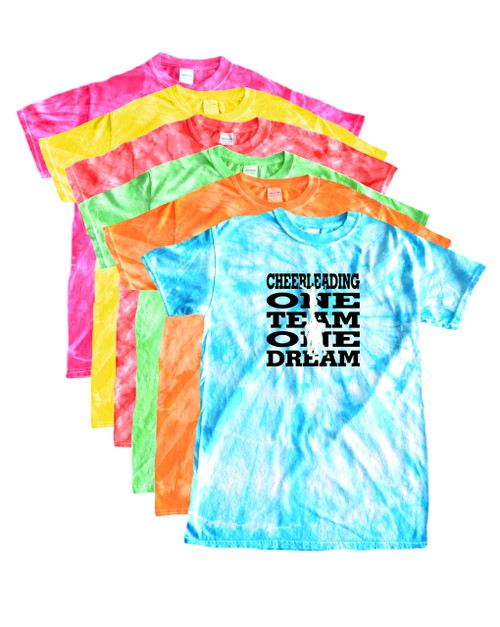 "Cheerleading Tie Dye T-Shirt ""One Team One Dream"" Black Logo"