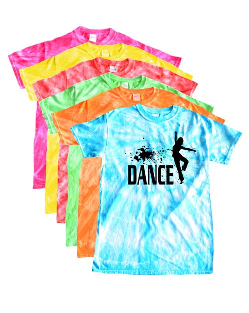 """Dance Tie Dye T-Shirt """"Splatter"""" Black Logo"""