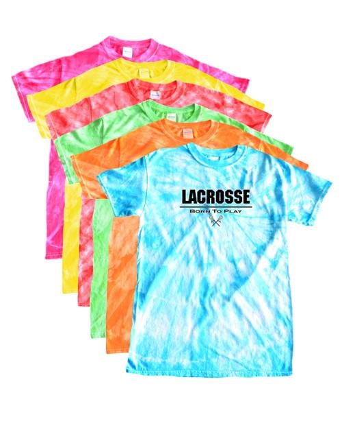 """Lacrosse Tie Dye T-Shirt """"Born to Play"""" Black/White Logo"""