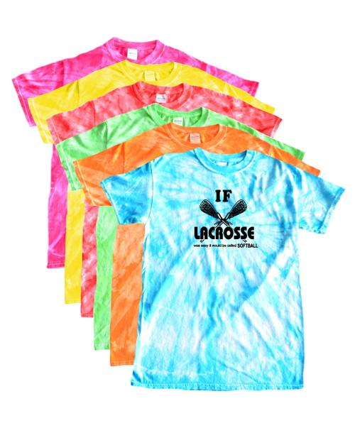 """Lacrosse Tie Dye T-Shirt """"If Lacrosse..."""" Black Logo"""