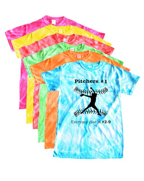 "Softball Tie Dye T-Shirt ""Pitchers #1"" Black Logo"