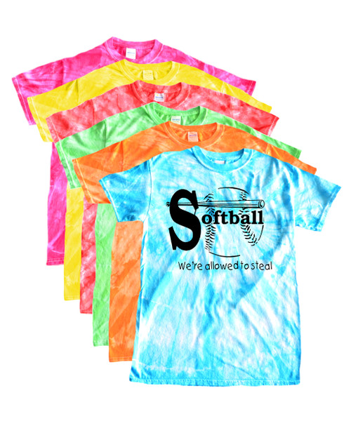 """Softball Tie Dye T-Shirt """"We're Allowed to Steal"""" Black Logo"""