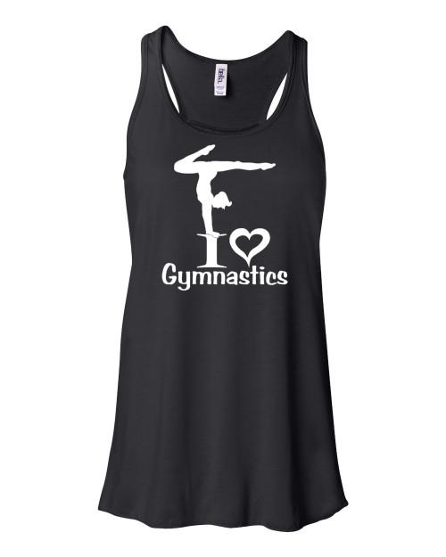 """Gymnastics Flowy Tank """"I Love Gymnastics"""" Logo"""