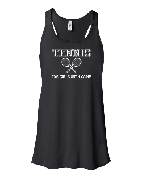 """Tennis Flowy Tank """"For Girls with Game"""" Logo"""