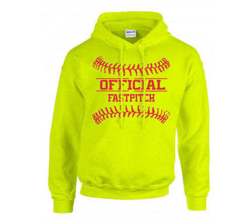 "Softball Optic Yellow Sweatshirt ""Official Fastpitch"" Logo"