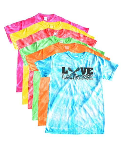 Lacrosse Tie Dye T-Shirt Love Lacrosse Charcoal Logo