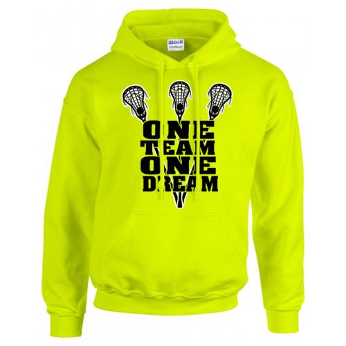 """Lacrosse Optic Yellow Sweatshirt """"One Team"""" Logo"""