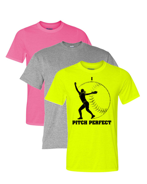 "Softball Solid T-Shirt ""Pitch Perfect"" Logo"