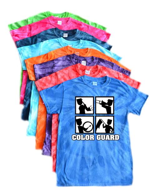 """Color Guard Tie Dye T-Shirt """"Square"""" Logo"""