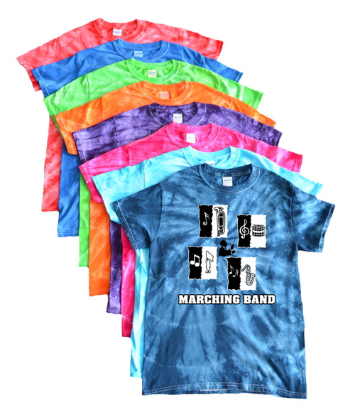 "Marching Band Tie Dye T-Shirt ""Conductor"" Logo"