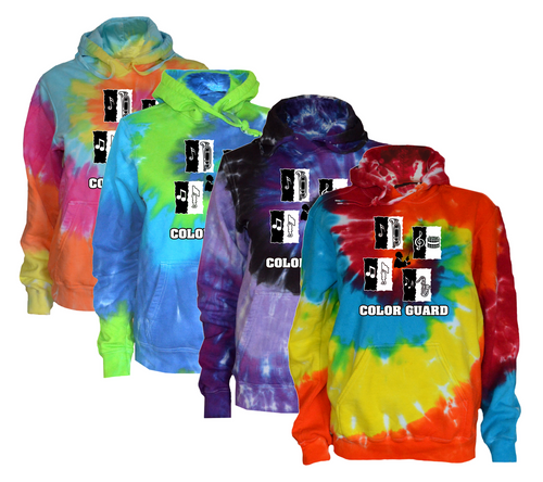 """Color Guard Tie Dye Sweatshirt """"Conductor"""" Logo"""