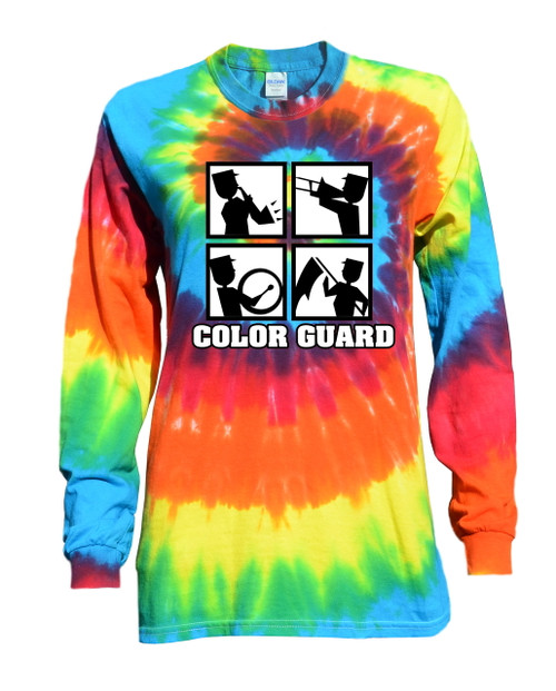 "Color Guard Tie Dye Rainbow Long Sleeve ""Square"" Logo"