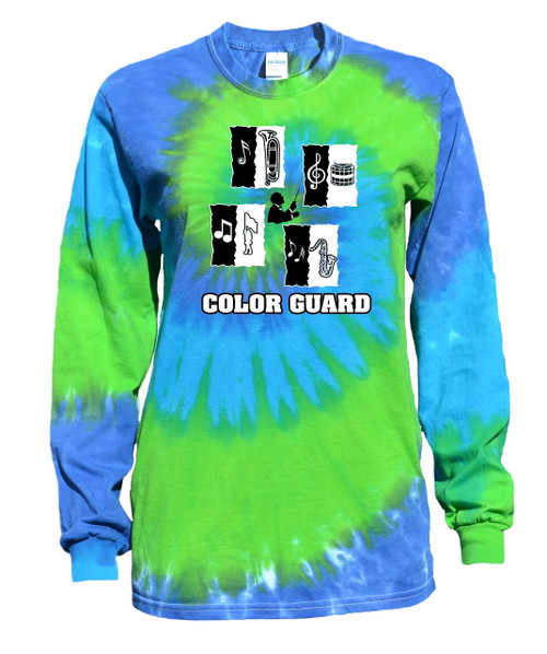 "Color Guard Tie Dye Blue/Green Long Sleeve ""Conductor"" Logo"
