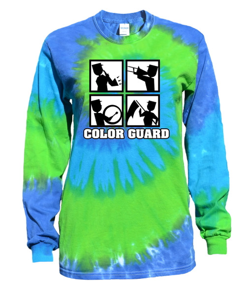 "Color Guard Tie Dye Blue/Green Long Sleeve ""Square"" Logo"
