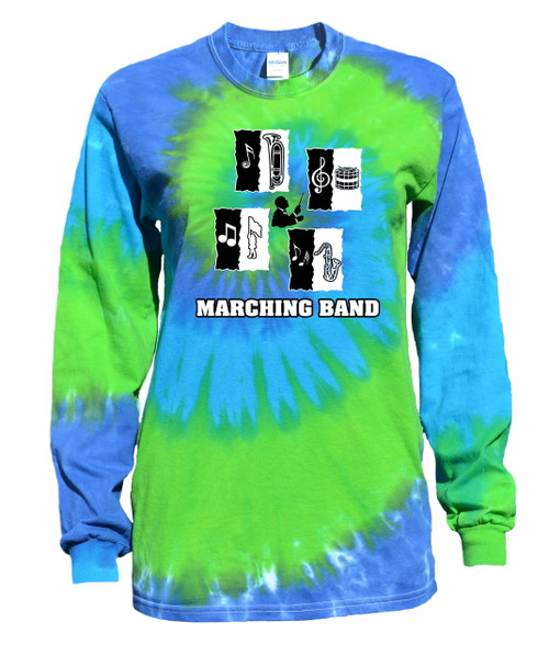 "Marching Band Tie Dye Blue/Green Long Sleeve ""Conductor"" Logo"