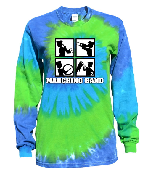 "Marching Band Tie Dye Blue/Green Long Sleeve ""Square"" Logo"