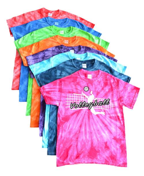 """Volleyball Tie Dye T-Shirt """"Jump Spike"""" Logo"""