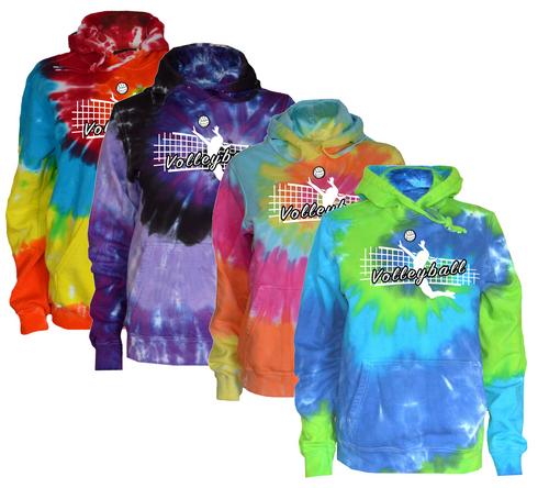 "Volleyball Tie Dye Sweatshirt ""Jump Spike"" Logo"
