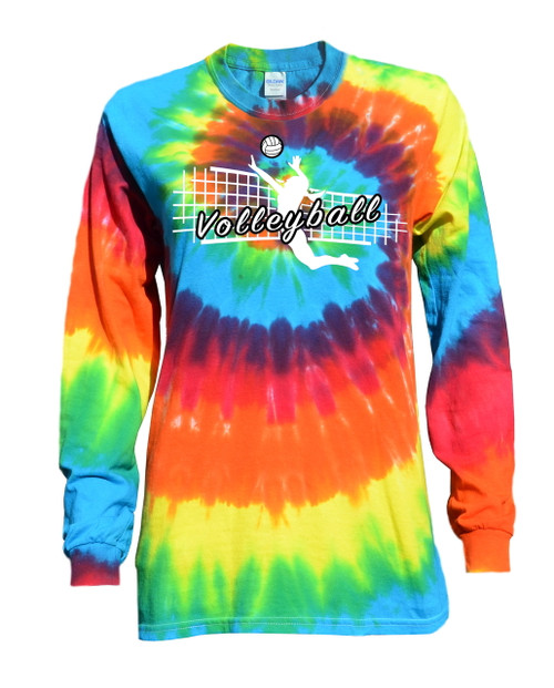 "Volleyball Tie Dye Rainbow Long Sleeve ""Jump Spike"" Logo"