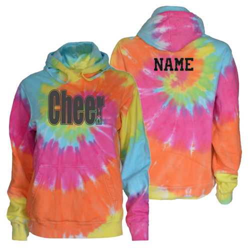 "Cheerleading Pastel Tie Dye Sweatshirt ""Cheer"" Charcoal Logo"
