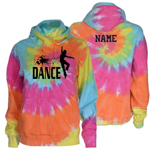 """Dance Pastel Tie Dye Sweatshirt """"Splatter"""" Black Logo"""