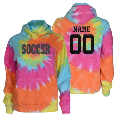 """Soccer Pastel Tie Dye Sweatshirt """"Soccer with Heart"""" Charcoal Logo"""