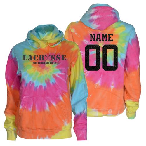 """Lacrosse Pastel Tie Dye Sweatshirt """"Lacrosse"""" Charcoal Logo"""