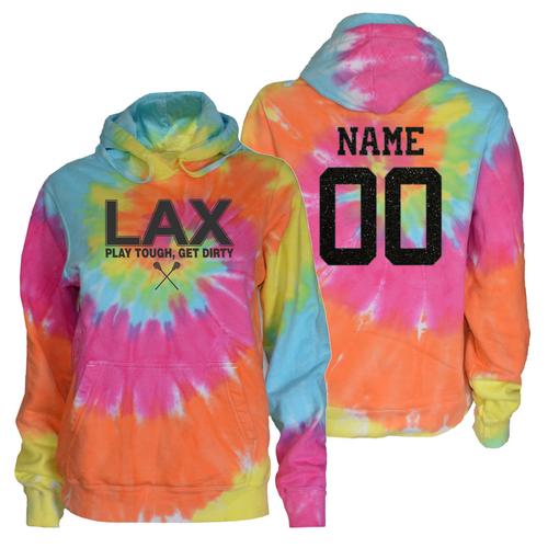 """Lacrosse Pastel Tie Dye Sweatshirt """"LAX"""" Charcoal Logo"""