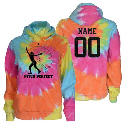 "Softball Pastel Tie Dye Sweatshirt""I Pitch Perfect"" Black Logo"