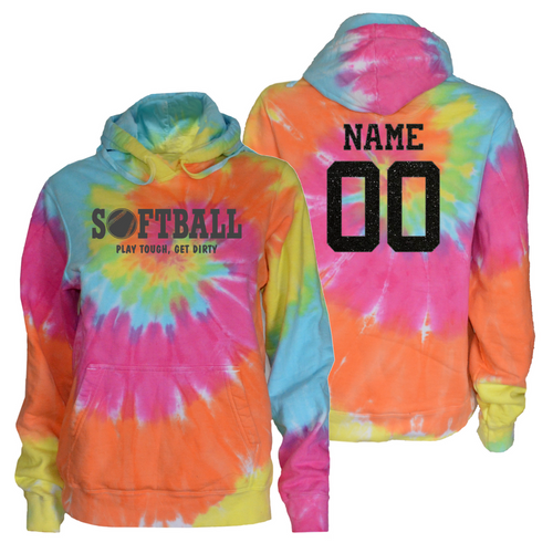 "Softball Pastel Tie Dye Sweatshirt""Play Tough Get Dirty"" Charcoal Logo"