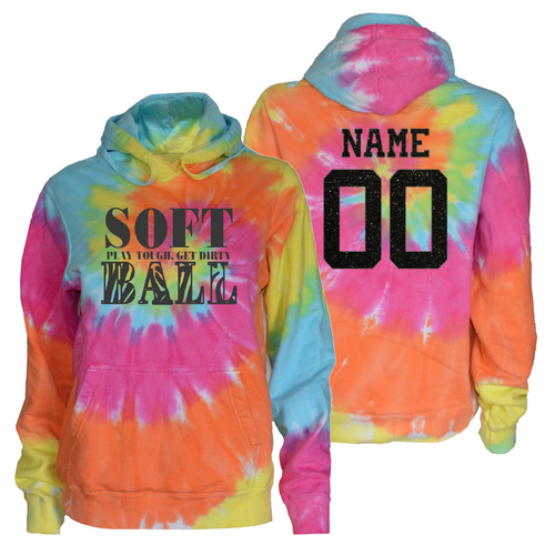 "Softball Pastel Tie Dye Sweatshirt ""Stacked"" Charcoal Logo"