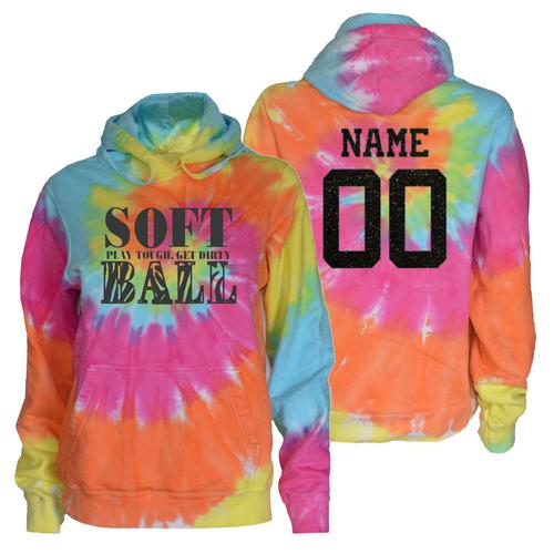 "Softball Pastel Tie Dye Sweatshirt ""Stacked"" Charcoal Logo"