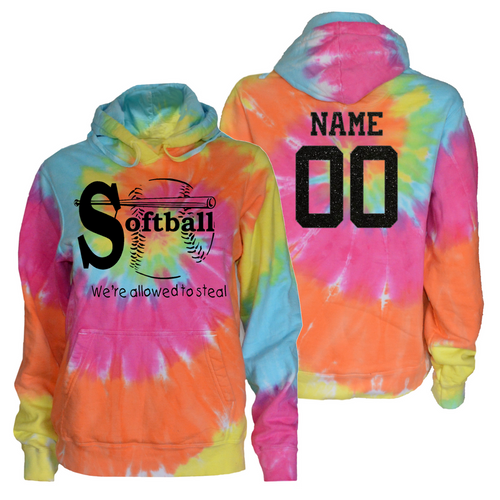 "Softball Pastel Tie Dye Sweatshirt ""We're Allowed to Steal"" Black Logo"