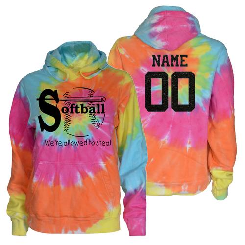 "Softball Pastel Tie Dye Sweatshirt ""We're Allowed to Steal"" Black Logo"