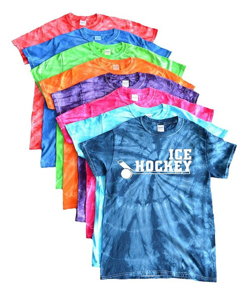 "Ice Hockey Tie Dye T-Shirt ""Stacked on Stick"" Logo"