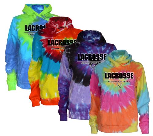 """Lacrosse Tie Dye Sweatshirt """"Born to Play"""" Logo"""