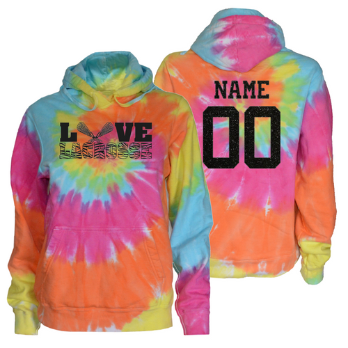 """Lacrosse Pastel Tie Dye Sweatshirt """"Love Lacrosse"""" Charcoal Logo"""