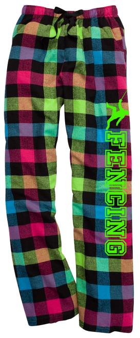 Fencing Neon Flannel Pants